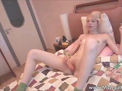 Stunning face blond Alice receives rubber toy up the part1