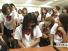 Subtitled ENF Seductive japanese schoolgirl strips naked in class