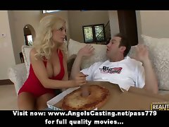 Charming charming light-haired cutie doing cock sucking to the pizza man