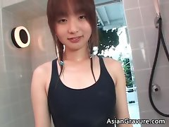 Sexual asian barely legal teen in swimsuit showers part2