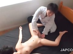Asian craving muff finger teasing in bed