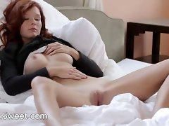 Shocking redhead stripping soft skin