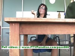 Mandee sensual dark haired wench public flashing knockers and muff