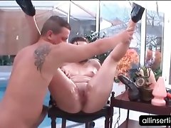 Kinky soggy nympho gets dirty ass dildoed wild at the pool