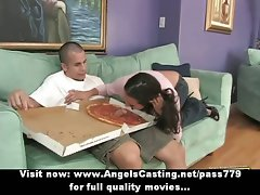 Dark haired filthy bitch undresses and does cock sucking for pizza chap with pizza on