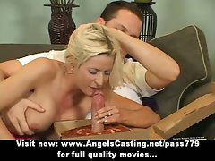 Buxom blondie does cock sucking and titsjob for pizza chap and undresses