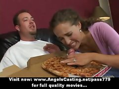 Alluring bored dark haired does cock sucking for pizza fellow with pizza on pecker