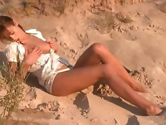 Racy natasha coed nude on the beach