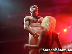 Blondie striper delights stroking a prick