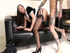 Hottest french maid getting sexy fanny pumped by happy fellow