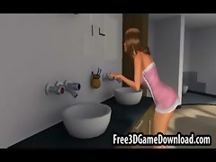 Beauteous 3d cartoon chick with long brown hair being touched