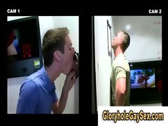 Straight hunk cums at gloryhole