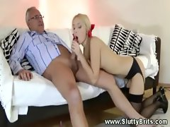 Blond whore gets her sexy fanny rocked by a mture chaps phallus