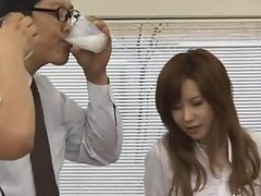 Asian secretary from Tokyo with butthole milk