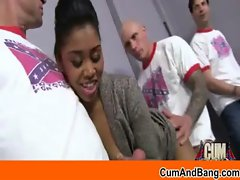 Interracial gangbang giving blowjob - video 32