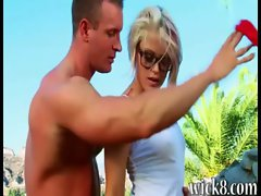 Puny titted lassie Ash Hollywood screwed nice by the poolside