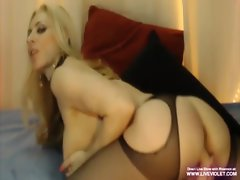 Big titted experienced tempting blonde Rhiannon plays with very hairy twat