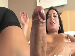Beauteous blackhair shemale jerking off