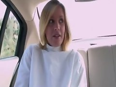 Blond cutie on the loose wearing straitjacket nailed outdoor