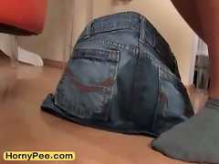 Trashy luscious teen Grace piss on jeans panty