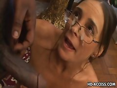 Attractive Cheyenne Hunter licking ebony prick