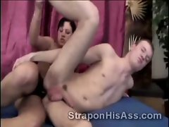 18yo perv deeply assfucked by filthy strapon fuck partner