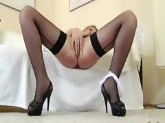 Hottest blond cutie stroking and screwing for this aged chap