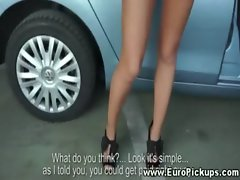 Euro lass gives upskirt show Point of view
