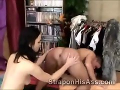 19 years old dark haired Ally Style works on perv boyfriends butt
