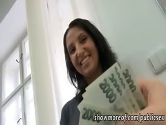 Sensual amateur chick receives the money and has sex in the salon