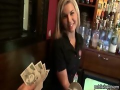 Pretty amateur blondie barmaid paid sex in public