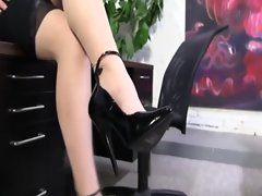 Shoe fetish strange slutty girl in stockings