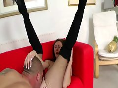 Attractive mature stockings banging and licking after queening chap