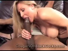 Very beautiful attractive mature blond hussy Julia Ann gets screwed by big ebony man