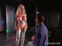 Blondie big titted stripper dancing on the stage