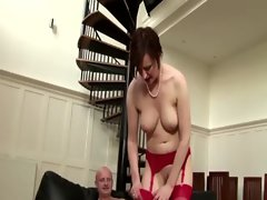 Watch cumshot on red stockings after aged nympho rides