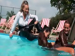 WAM nymphos play sexgames in the pool