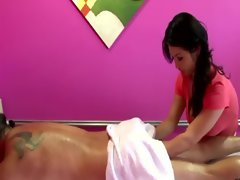 Sensual masseuse greases up her client and wants his phallus