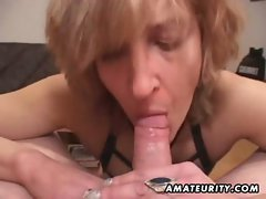 Attractive mature amateur better half gives head with cum in mouth
