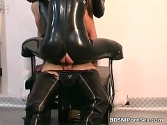 Obscene and kinky latex tart getting
