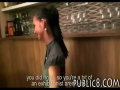 Tempting amateur dark haired resto barmaid paid for asshole screwing