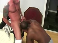 Hunky filthy ebony gets dicksucked by white