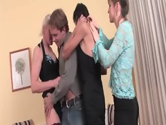 Barely legal teen dude gets screwed in gangbang with housewifes