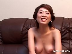 Asian sweetie gets perky lewd hooters teased