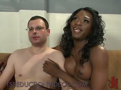 Ebony transsexual examines and fingeres and bangs bum of white fellow in gyno chair