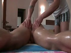 Oilly stud gets butt hole fingered by gay masseur