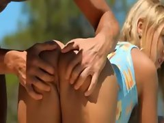 Lewd butt tempting blonde sassy teen Alyona doggy banged under the sun