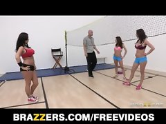 Group of sporty vixens compete for their trainer&#039_s big-dick