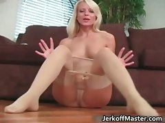 Alluring blond young woman stripping part5