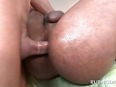Black masseur gets bum drilled by white alluring gay
